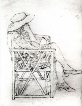 Donna seduta, disegno a matita, copia per la stampa, 1985