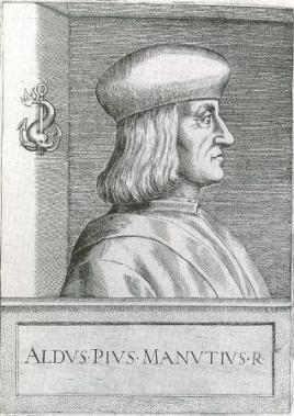 Ritratto di Aldo Manuzio, Illustrium philosophorum et sapientium effigies, 1568 (segnatura marciana: 28.D.46.2)