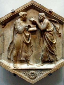 Platone e Aristotele in colloquio, Luca della Robbia, 1437-1439, Firenze, Campanile di Giotto
