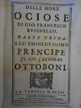 Delle ore ociose di G. F. Busenello (1656), frontespizio