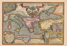 Il viaggio dei Argonauti (evidenziate Chero e Lussino) da una carta di Abraham Ortelius, 1624